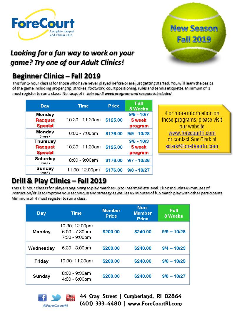 Adult Clinics Info Sheet 2019