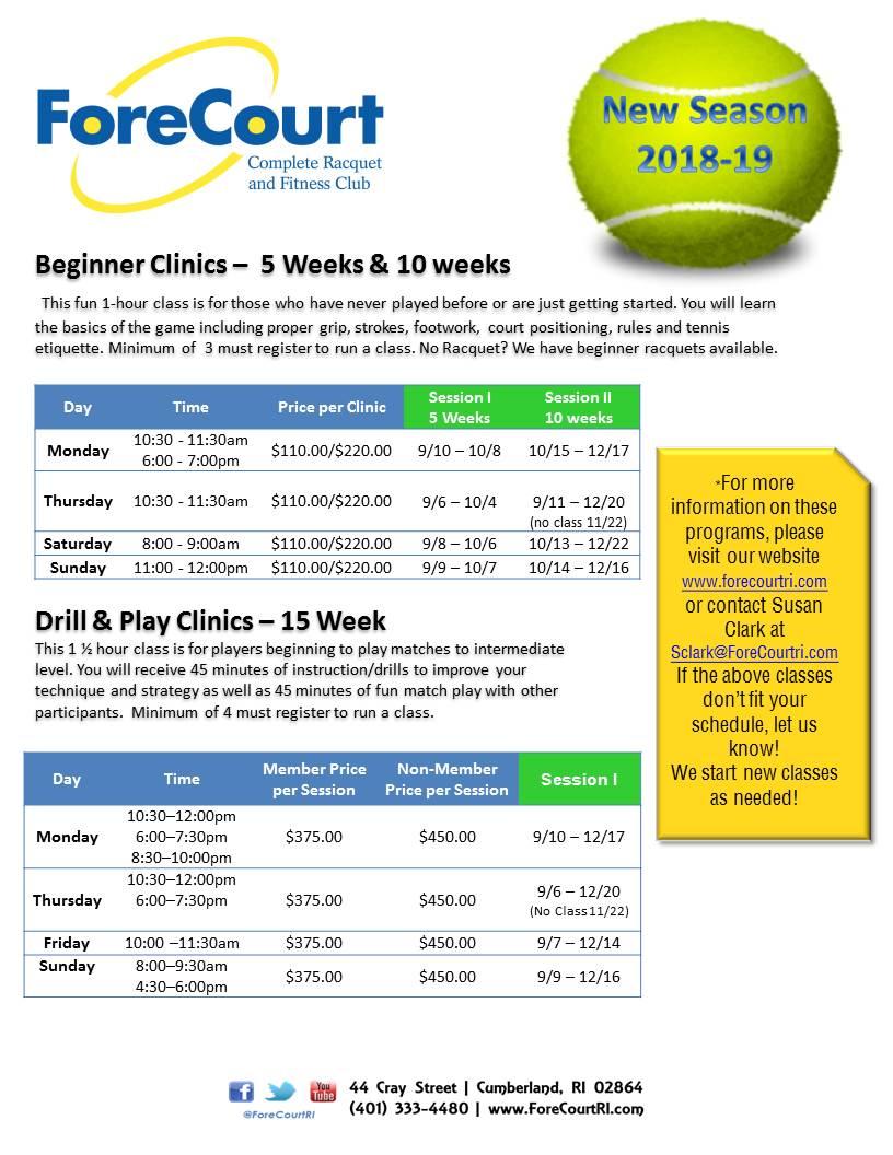 Adult Clinics Info Sheet Fall 2019